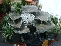 Huge Hypertufa Leaf Waterfall....Awesome! and easy to make Just find the right leaves!