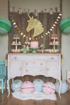 A unicorn themed birthday party