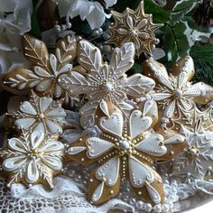 Golden snowflakes by Teri Pringle Wood