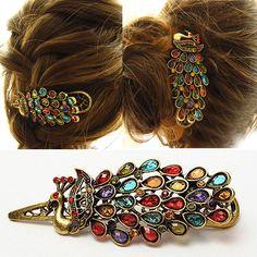 1 Pcs Vintage Jepit Rambut Penata Rambut Aksesori Gadis wanita Kristal Berlian Imitasi Merak Rambut Klip Barrette Headwear Dekorasi Alat