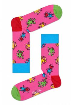 Keith Haring's colorful work has made him an icon status long after his tragic death. Happy Socks is celebrating his art with a collection of cool socks. Dance Socks, Keith Haring, Sock Hop, Limited Collection, Funny Socks, Colorful Socks, Happy Socks, Color Box, Everyday Items