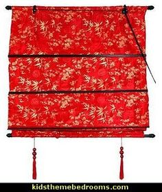 Asian Fancy Style Shades - Shang Hai Tan Sateen Roman Window Blinds - Red