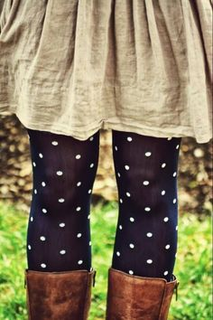 See more Cotton Dress With Polka Dots Leggings and Long Leather Boots