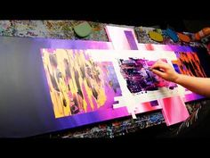 Abstract Painting Demonstration in Acrylics using masking tape knife and splatter - Rubus Abstract Painting Easy, Diy Wall Painting, Acrylic Painting Tutorials, Abstract Painters, Wall Paintings, Abstract Art, Masking Tape Art, Painting Lessons, Painting Classes