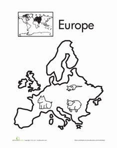 Teach your child the basics of world geography by showing him the seven continents. Color in the animals of Europe on this page, and add your own if you want.