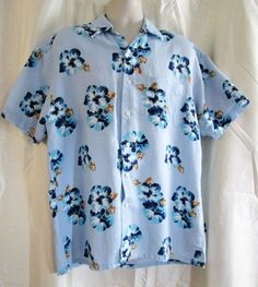 Mens Shirt Lg Nautica Hawaiian Blue Hibiscus Linen Blend #Nautica #Hawaiian
