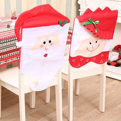 4Pcs Set Christmas Cap Chair Covers Xmas MrMrs Santa Claus Red Hat Back Cover For D