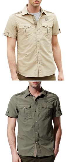 33a93e78ba97f Outdoor Breathable Shirt for Men  Chest Pockets   Short SleevesButton Up    Quick Dry