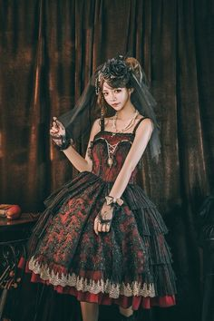 Miracles -The Siren- Gothic Lolita Jumper Dress,Lolita Dresses, Lolita Goth, Gothic Lolita Dress, Gothic Lolita Fashion, Goth Beauty, Fashion Beauty, Asian Fashion, Jumper Dress, Online Dress Shopping, Beautiful Outfits