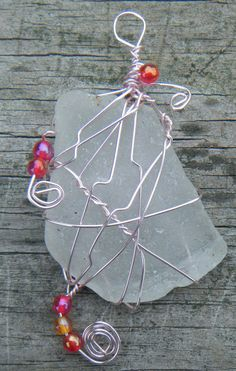 Beach Jewels Wire Wrapped Sea Glass Pendant