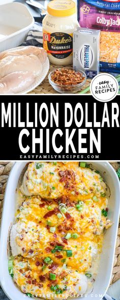 BEST CHICKEN EVER! This easy chicken bake is on our regular dinner rotation. The Million Dollar Chicken combines tender chicken breast, cream cheese, cheddar cheese, bacon, and green onions for a rich creamy dish that is packed with flavor! Perfect for low carb diets, gluten free, and hungry teenagers, this recipe makes baked chicken exciting again!