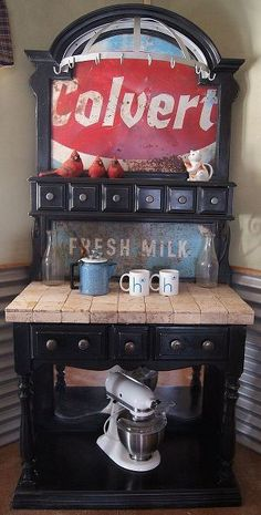 bakers rack turned coffee station, painted furniture, repurposing upcycling, Coffee Station makeover using repurposed materials