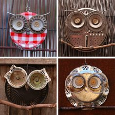 more owls.... junky owls, repurposed, recycled, upcycled owls, spare parts, think from yard sale, thrift stores, strainers and such from the Dollar store... junk from trash heaps... these would look great in numbers hanging around on the porch, or on the fence... great topper for a windchime , how cute would they be mounted on to stakes and planted through out  your garden... easy and simple, great idea for groups like scouts or 4H....