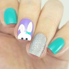 1 ihy661. Chic Easter Nails If you want to an Easter manicure that celebrates the occasion but still looks chic and trendy, this idea could be for you. The nails use a soft pink, dark purple and has a bunny accent nail. We love how the bunny is cute but simple and the use of light and …