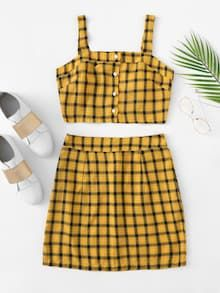Single Breasted Checked Cami With SkirtFor Women-romwe Source by nias Source by LaishaWomenShop de nias Crop Top Outfits, Cute Casual Outfits, Cute Summer Outfits, Pretty Outfits, Stylish Outfits, Teen Fashion Outfits, Look Fashion, Outfits For Teens, Girl Fashion