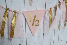 Half Birthday GOLD Party Banner Gold Birthday by BannersAway