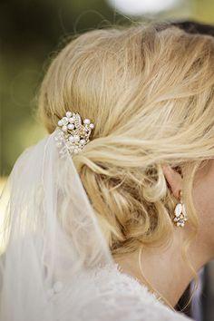Elegant updo wedding hairstyle; photo: Courtney Bowlden Photography