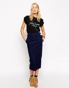 ASOS Denim High Waisted Midi Skirt in Deep Indigo