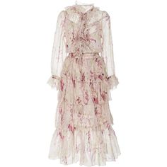 Zimmermann Winsome Ruffled Midi Dress ($1,300) ❤ liked on Polyvore featuring dresses, floral, frilly dresses, midi dress, zimmermann dress, floral print midi dress and calf length dresses