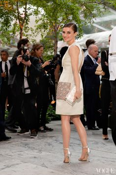 This is at the MoMA Garden Party. I thought this pale green Christopher Kane dress was very springy—too bad it was rainy all night. I like the art benefits because you always get a bit of a kookier crowd, which makes for better people-watching.