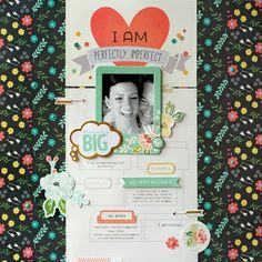 #Papercraft #scrapbook #layout. I AM™…a soft, feminine, introspective collection for telling the most important story you have to tell... yours. - layout created by design team member Chantalle McDaniel