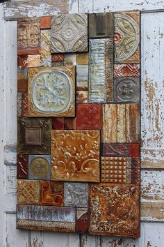 French Italian Tuscany Glazed Vintage Ceiling by TinExpressions bemalen French, Italian Tuscany Glazed Vintage Ceiling Tin Metal Collage. 48 ins. Fine Art from 135 yr.old Recyled Tin Tiles Tin Tiles, Tin Ceiling Tiles, Clay Tiles, Tile Art, Mosaic Art, Collage Art, Collages, Reclaimed Wood Art, Diy Wood