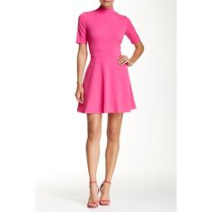 Alexia Admor Mock Neck Flare Dress (6750 RSD) ❤ liked on Polyvore featuring dresses, hot pink, hot pink dress, white day dress, short-sleeve dresses, white short sleeve dress and white dress