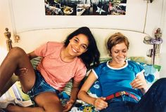 Rosario Dawson and Chloë Sevigny on set for Kids