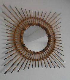 Espejo ratan en forma de sol hecho a mano 70,s de Tommybanana por DaWanda.com