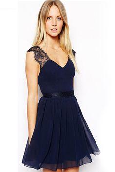 GRANATOWA sukienka ROZKLOSZOWANA DEKOLT na plecach (5017351171) - Allegro.pl - Więcej niż aukcje.