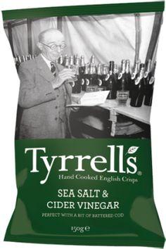 Tyrrells Sea Salt & Cider Vinegar Crisp - by Tyrrells Vinegar Salt, Cider Vinegar, Comfort Food British, British Crisps, Battered Cod, Snack Brands, Best Chips, Potato Crisps, Online Supermarket
