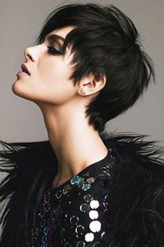 black short hair cut, pixie cut. love it