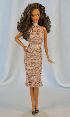 blush crochet dress #1 (made from a thrift shop top - used the front center of the top, hem was done, sewed up the back, tied a ribbon around the neck and waist, used the top lining to make a tube lining for the dress)