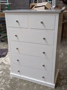 Custom chest of drawers painted in Farrow and Ball's Wimborne White with a painted top in Pavilion Grey. This style can be made in any size or colour and type of top in rustic pine, pine or oak. Bespoke, made to measure furniture and kitchens based in St Ives, Cambridgeshire with nationwide delivery. Pine Furniture, Bespoke Furniture, Solid Wood Furniture, Handmade Furniture, Pavilion Grey, Made To Measure Furniture, Wimborne White, Painted Chest, Crafts Beautiful