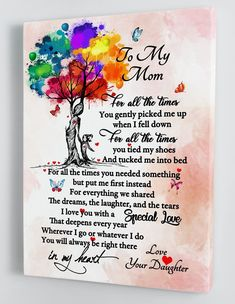 Mom Quotes From Daughter, Mothers Day Gifts From Daughter, Mothers Day Quotes, Happy Mothers, Mother Gifts, To My Daughter, Dad Son, Happy Birthday Mom From Daughter, Mom Poems