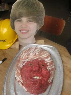 """Cake Wrecks - The End of the World As We KnowIt (yes, that's a Justin Bieber meat """"cake"""")"""