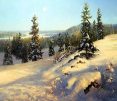 Under the blue skies Winter Landscape, Landscape Art, Landscape Paintings, Landscapes, Painting Snow, Winter Painting, Snow Scenes, Winter Scenes, Diy Art Projects