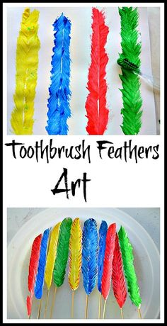 Fun art project with toothbrush. Make feathers an turn them into quill pens for writing and drawing. #artactivities