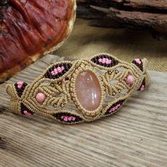 Macrame+Bracelet+Shamballa+Cabochon+Rose+Quartz+Waxed+Cord+Handmade+Handwoven+#Handmade+#Wrap