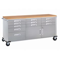 The Seville Classics UltraHD Rolling Workbench is made of durable steel with ULTRAGUARDル fingerprint-resistant stainless-steel cabinet doors and drawer fronts. Rolling Workbench, Workbench Top, Workbench Ideas, Woodworking Workbench, Woodworking Crafts, Media Cabinet, Cabinet Doors, Tall Cabinet Storage, Open Shelving