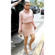 Kim Kardashian And Sister Khloe Wear Matching Outfits In Miami ❤ liked on Polyvore featuring people
