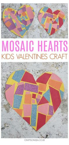 Valentine's Day Crafts For Kids, Valentine Crafts For Kids, Valentines Day Activities, Toddler Crafts, Preschool Crafts, Holiday Crafts, Daycare Crafts, Mosaic Crafts, Paper Mosaic