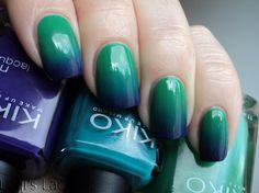 Love. Varnish, chocolate and more...: Kiko gradient 296 Meadow green, 342 Sea green and 333 Briliant violet.