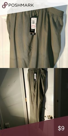 NWTS size 24  sage green pants Briggs brand elastic waist,  front pockets, plain rear soft sage green  color Briggs Pants Trousers