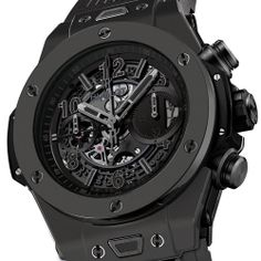 On the occasion of the Geneva Trade Show Hublot presents the new Big Bang Unico, which is now totally black and matt. Introducing the Hublot Big Bang Unic. All Black Watches, Fine Watches, Luxury Watches For Men, Cool Watches, Wrist Watches, Hublot Watches, Best Black, Casio Watch, Bracelets For Men