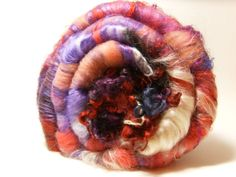 I Shall Wear Purple - Spinning Fiber Batts with hand dyed locks by BlackSheepGoods, $22.40