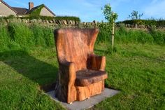 Chair - Mark Bowman Hand carved from a large piece of Spaulded Beech using a chainsaw.