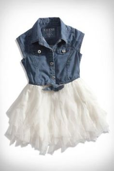 Little Girl Chiffon and Chambray Dress (2-6x) guess kids  Love this! Would look so cute with tan boots!!