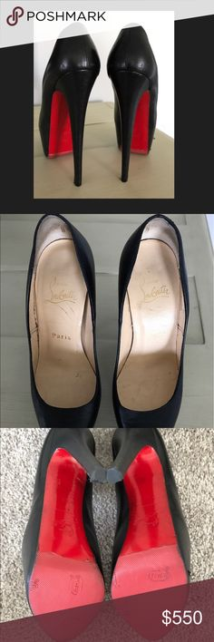 Authentic Daffodile Black 36 160 mm Christian Louboutin Daffodile Black size 36 160 mm. Shoes come without box. Rubber soles have been placed on the bottom to prevent red paint being removed. Heel tips replaced as well. NO trades Christian Louboutin Shoes Heels