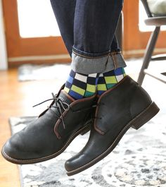 Statement Sockwear checkered design featuring the March Sock Color of the Month: lime green. For a sure thing, pair these bold socks with some Wolverine boots (pictured above).